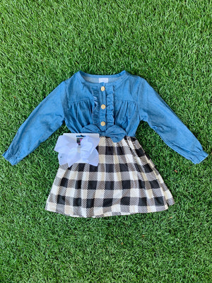 Bowtism Plaid Denim Dress with Matching Bow