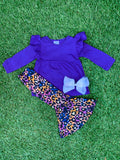 Bowtism Colorful Cheetah Pants Set with Matching Bow