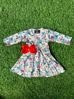 Bowtism Holly Leaf Twirl Dress with Matching Bow
