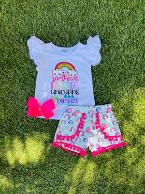 Bowtism Favorite Rainbow Shorts Set with Matching Bow