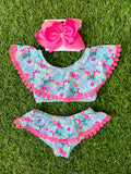 Bowtism Floral Paisley Bathing Suit with Matching Bow