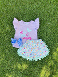Bowtism Mermazing Shorts Set with Matching Bow