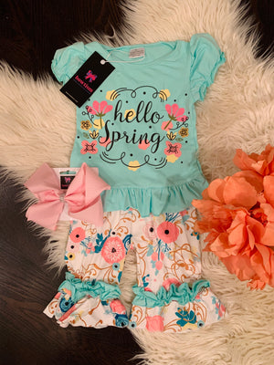 Bowtism Hello Spring Shorts Set with Matching Bow