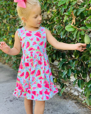 Bowtism Watermelon Party Stretch Dress with Matching Bow