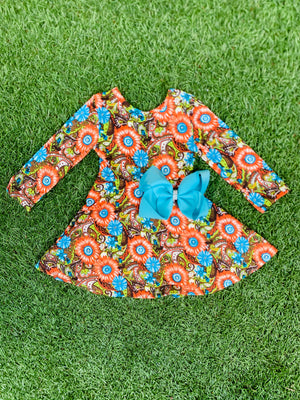 Bowtism Vibrant Paisley Twirl Dress with Matching Bow