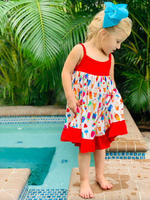 Bowtism Ice Cream Popsicle Party Dress with Matching Bow