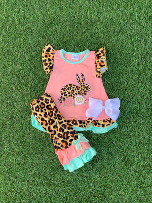 Bowtism Cheetah Bunny Capri Set with Matching Bow