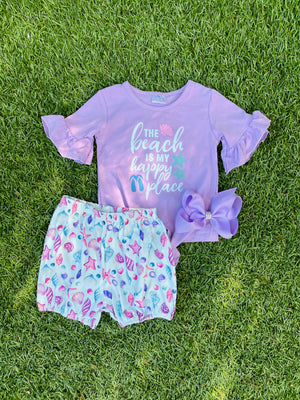 Bowtism Beach & Shell Shorts Set with Matching Bow
