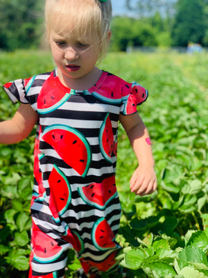 Bowtism Watermelon Party Romper with Matching Bow autism autistic charity
