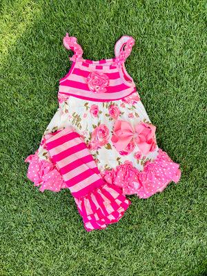 Bowtism Floral Aria Ruffle Capri Set with Matching Bow
