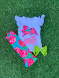Bowtism Lilly Bunny Capri Set with Matching Bow