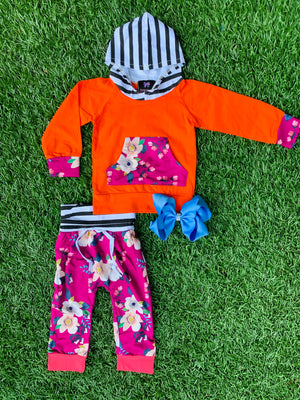 Bowtism Floral Fab Hoodie Pants Set with Matching Bow