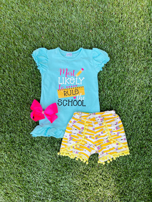Bowtism Rule the School Shorts Set with Matching Bow