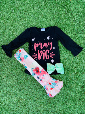 Bowtism Pray Big Flare Pants Set with Matching Bow