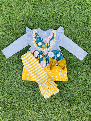 Bowtism Abigail Flower Pants Set with Matching Bow