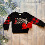 Bowtism Merry & Bright Stretch Sweater with Matching Bow