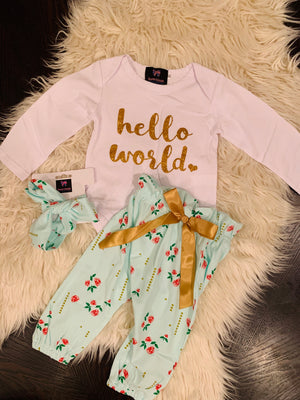Bowtism Hello World Pants Set with Matching Bow