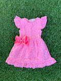 Bowtism Pink Lace Everyday Dress with Matching Bow