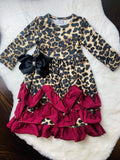 Bowtism Cheetah Ruffle Dress with Matching Bow