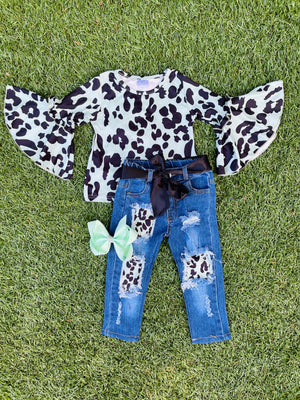 Bowtism Leopard Bell Sleeve Denim Set with Matching Bow