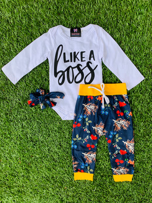 Bowtism Like a Boss Pants Set with Matching Bow