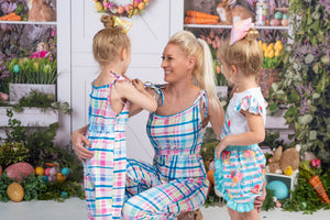 Bowtism Mommy Spring Plaid Romper