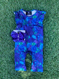 Bowtism Exclusive Dark Floral Romper with Matching Bow