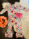 Bowtism Spring Floral Romper with Matching Bow
