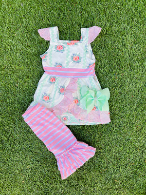 Bowtism Floral Harper Capri Set with Matching Bow