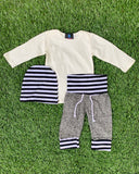 Bowtism Classic White Pants Set with Matching Hat