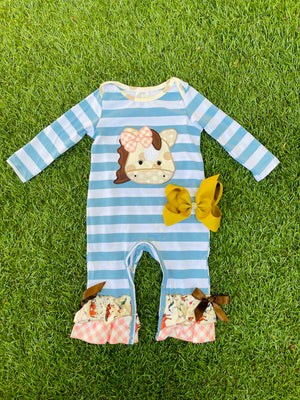 Bowtism Meet Me At The Farm Romper with Matching Bow