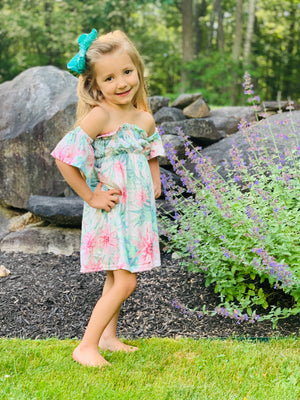 Bowtism Cactus Ruffle Dress with Matching Bow