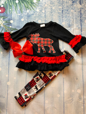 Bowtism Ruffle Country Moose Pants Set with Matching Bow