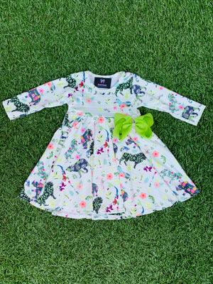 Bowtism Exclusive Zoo Crew Twirl Dress with Matching Bow