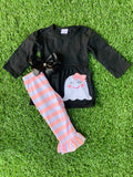 Bowtism Pink Ghost Pants Set with Matching Bow