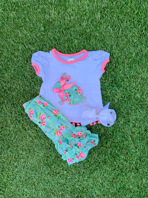 Bowtism Happy Bunny Capri Set with Matching Bow