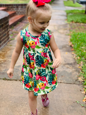 Bowtism Tropical Floral Dress with Matching Bow