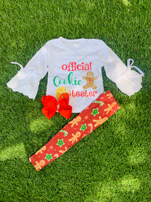 Bowtism Official Cookie Tester Pants Set with Matching Bow