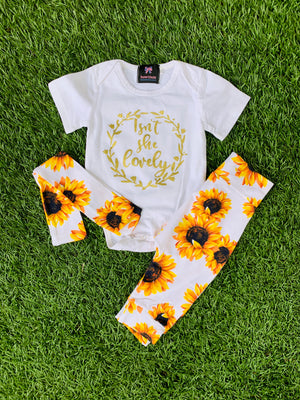 Bowtism Sunflower Isn't She Lovely Pants Set with Matching Bow