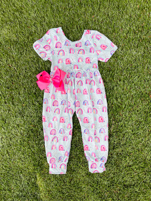 Bowtism Exclusive Rainbow & Sunshine Romper with Matching Bow