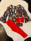 Bowtism Nutcracker flare pants set with Matching Bow