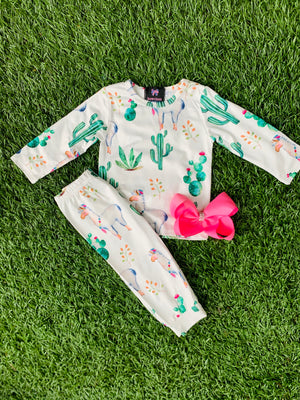 Bowtism Lovely Lama Pants Set with Matching Bow