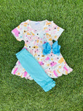 Bowtism Sunny Clouds Capri Set with Matching Bow