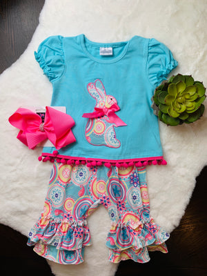 Bowtism Colorful Bunny Shorts Set with Matching Bow