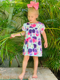 Bowtism Pom Pom Flower Dress with Matching Bow