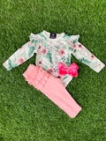 Bowtism Floral Ruffle Bum Pants Set with Matching Bow