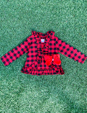 Bowtism Buffalo Plaid Ruffle Jacket with Matching Bow