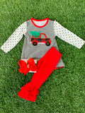 Bowtism Red Truck Ruffle Pants Set with Matching Bow