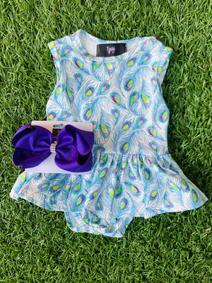 Bowtism Exclusive Peacock Romper with Matching Bow