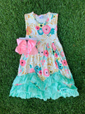 Bowtism Lovely Floral Ruffle Dress with Matching Bow